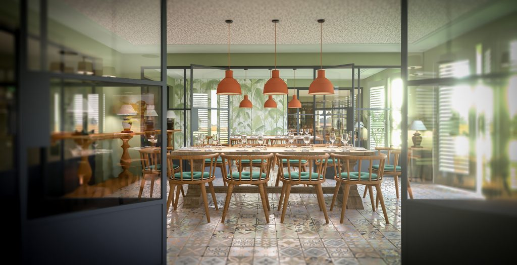 Interior CGI in a retirement home - dining area