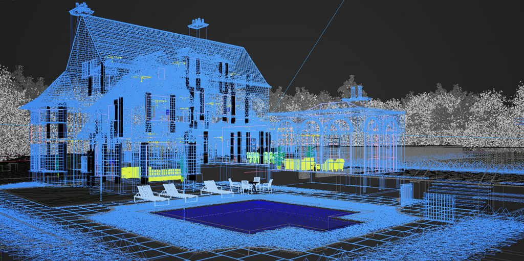Wireframe model of the building