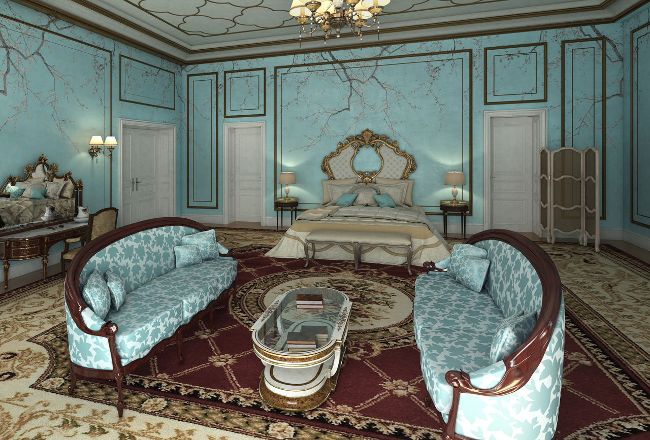 CG Rendering - Classic Design in Palace - Bedroom
