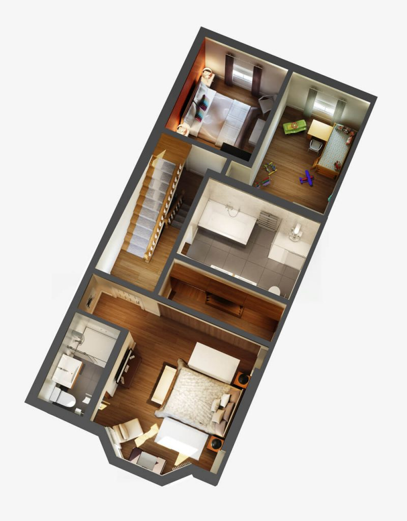 Upstairs Layout From 2D Plans and Elevations