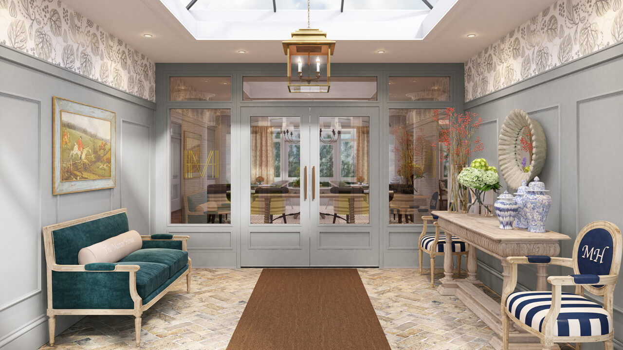 Architectural Interior Rendering - Entrance Lobby for Retirement Home CGI Render