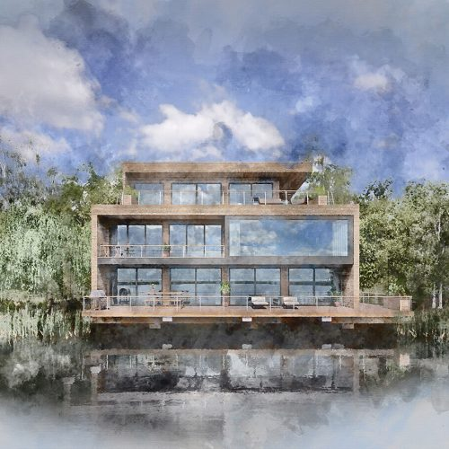 Exterior Watercolor of Lakehouse