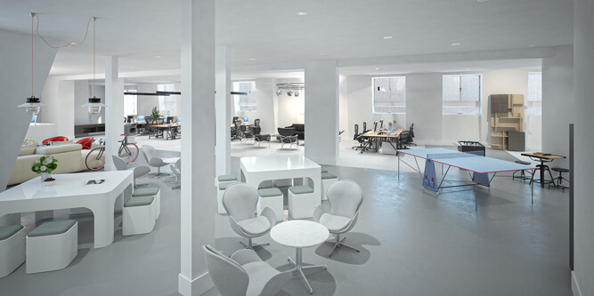 Office Fit Out 3D Visualisation - Open Offices