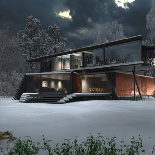 3D Exterior Architectural Rendering Services - Winter Archviz